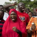 People demand for the release of 200 secondary school girls abducted in the remote village of Chibok, during a protest at Unity Park in Abuja
