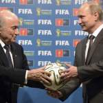 Russian President Putin and FIFA President Blatter take part in the official hand over ceremony for the 2018 World Cup, in Rio de Janeiro