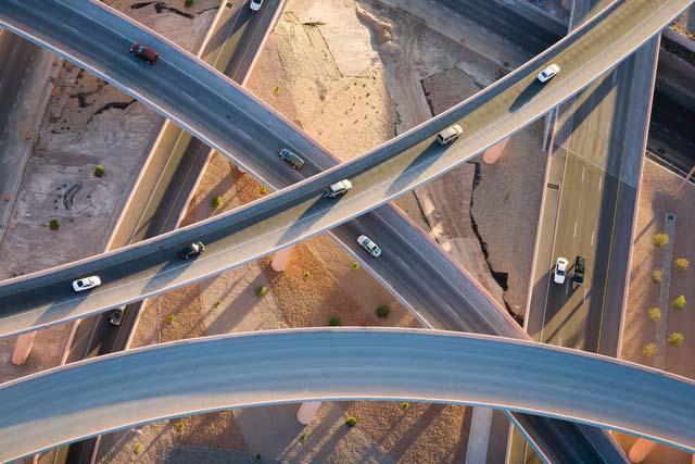 10. Cruzamento de rodovias em Novo México, nos EUA.