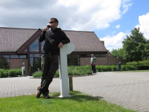 Jared Tasting a Belgium in front of the trappist monastery, St. Sixtus