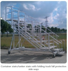 Tanker stairs with folding truck fall prevention