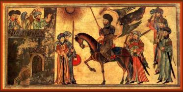 Prophet Muhammad (riding the horse) receiving the submission of the Banu Nadir, a Jewish tribe he defeated at Medina. From the Jami'al-Tawarikh, dated 1314-5