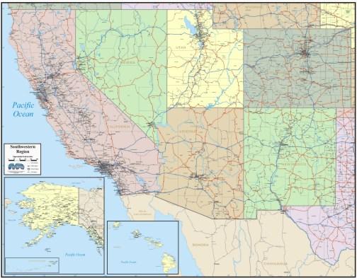 Southwest Us Map Roads