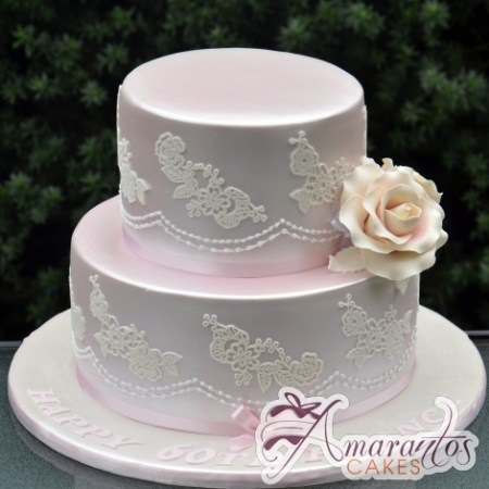 Two Tier with Lace Cake - Amarantos Birthday Cakes Melbourne