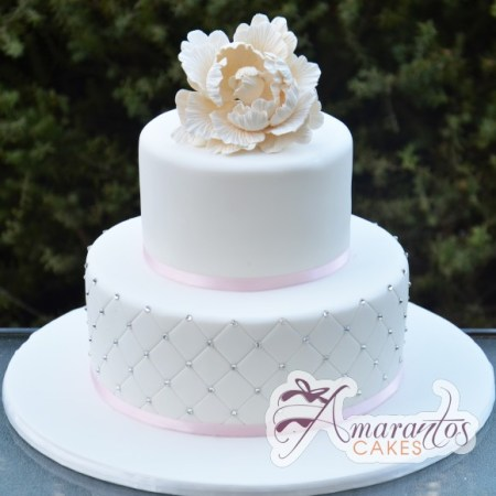 Two Tier With Flower Cake - Amarantos Custom Design Cakes Melbourne