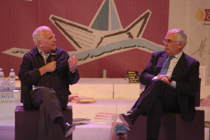 A sinistra, Giuseppe De Tomaso, direttore della Gazzetta del Mezzogiorno e, a destra, Gero Grassi, deputato fioroniano del Pd. Oppure il contrario. Boh.