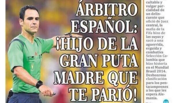 Come dimostra Hoy, i giornali colombiani hanno preso l'eliminazione con grande signorilità.