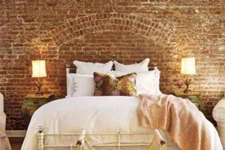 pics photos bedroom brick wall interior design