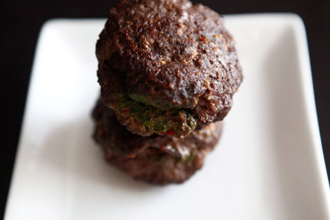 Bacon Pesto Stuffed Burgers