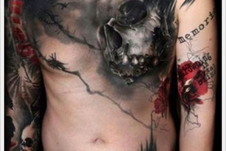 unique skull chest tattoo for men