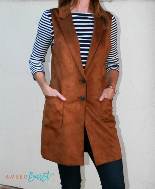 Lemon Tart faux suede long brown vest - Stitch Fix