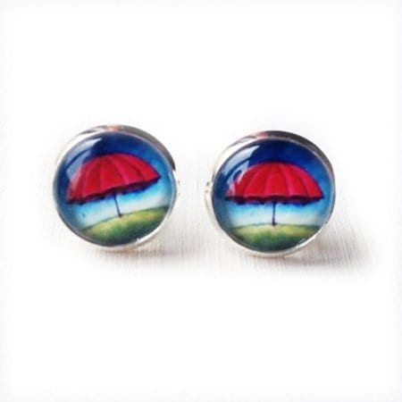 post earrings red and blue