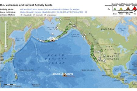 interactive map of volcanoes and current volcanic activity