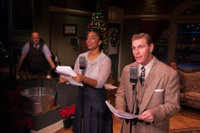 """""""It's a Wonderful Life: Live in Chicago!"""" adapted from Frank Capra, at American Blues Theater in Chicago through Dec. 31. Pictured: Shawn Goudie, Camille Robinson, and Brandon Dahlquist."""