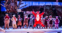 """""""A Winnie-the-Pooh Christmas Tail"""" by James W. Rodgers, at Valley Youth Theatre in Phoenix, Ariz., through Dec. 23. Pictured: Alexander Silver and cast. (Photo by Brian Cahill)"""