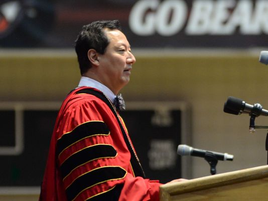 University of Cincinnati President Santa Ono speaking at the 197th Spring Commencement. Photo Courtesy of   Madison Schmidt for The Cincinnati Enquirer