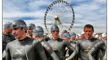 RIMINI, ITALY - MAY 11: (Editors Note: This image has been processed using digital filters) Participants get ready ahead of the race during the Challenge Triathlon Rimini on May 11, 2014 in Rimini, Italy. (Photo by Charlie Crowhurst/Getty Images for Challenge Triathlon) *** Local Caption *** ;