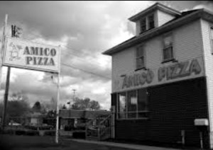 Black and White image of Amico Pizza Shop