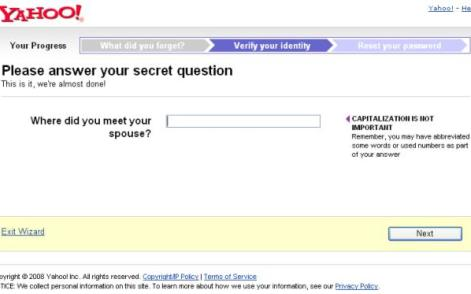 Yahoo Secret Answer Password