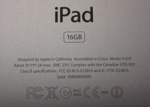 Apple iPad Agency Serial Number