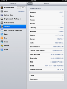 Apple iPad Settings Options