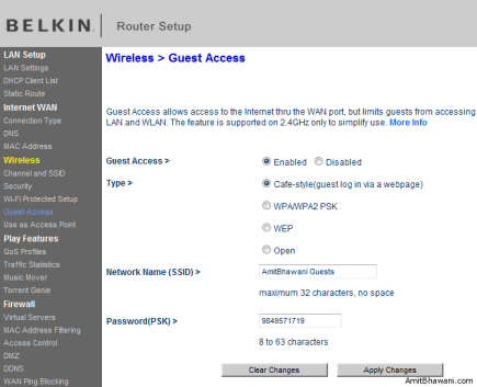 Router Wireless Guest Access