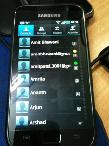 Samsung Galaxy S Contacts List