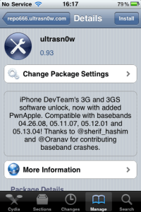 ultrasn0w iPhone Source Cydia