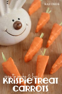 Have fun with this NO BAKE treat! Take an original rice krispie treat and make Easter Carrots- Easy Easter Treat Krispie Treat Carrots