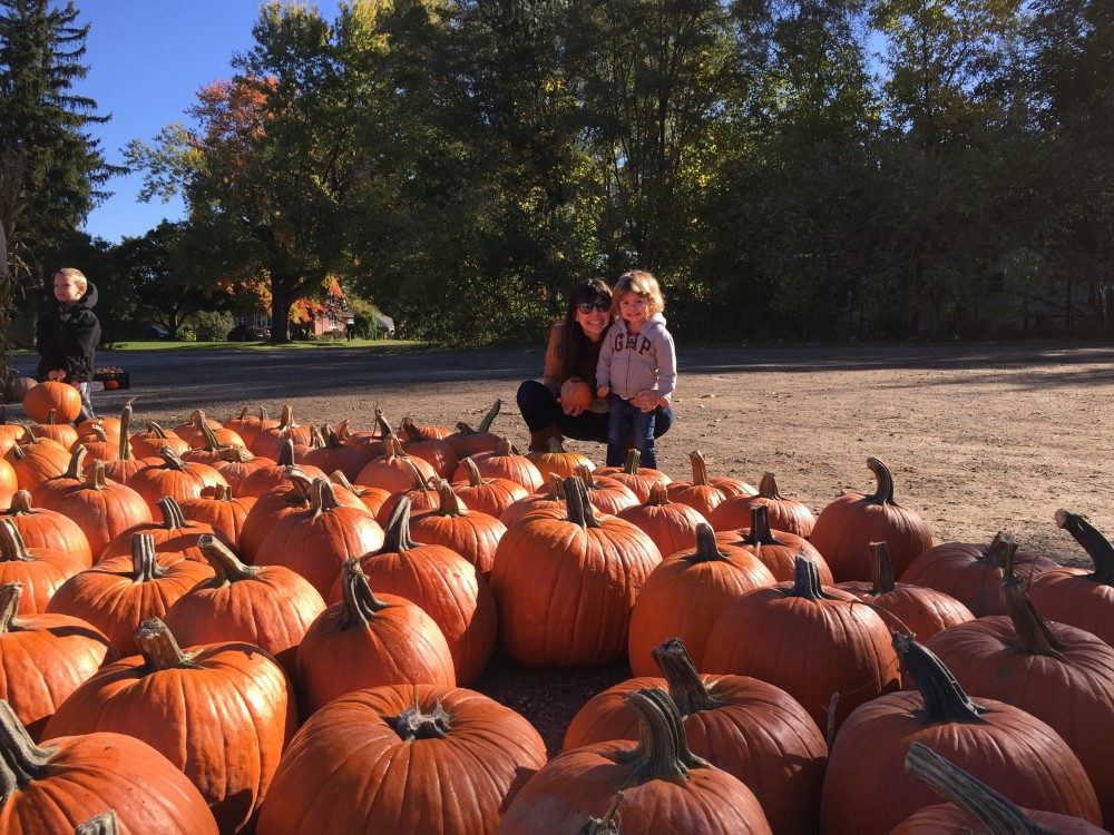 Choosing our pumpkin last year.