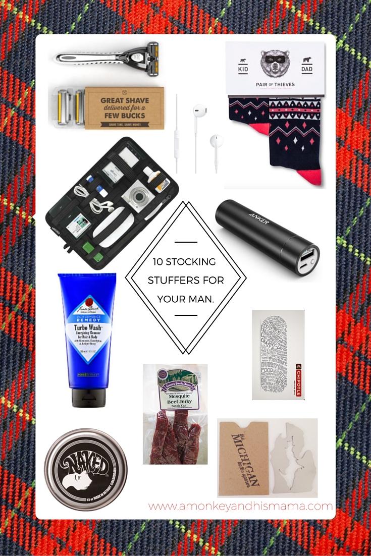 10 stocking stuffers for your man // www.amonkeyandhismama.com