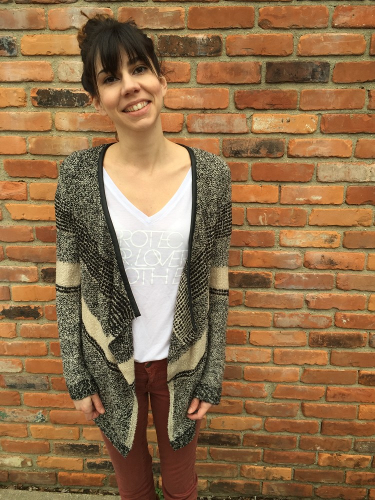 RD Style Laurel Faux Leather Trim Draped Cardigan/ / a monkey and his mama