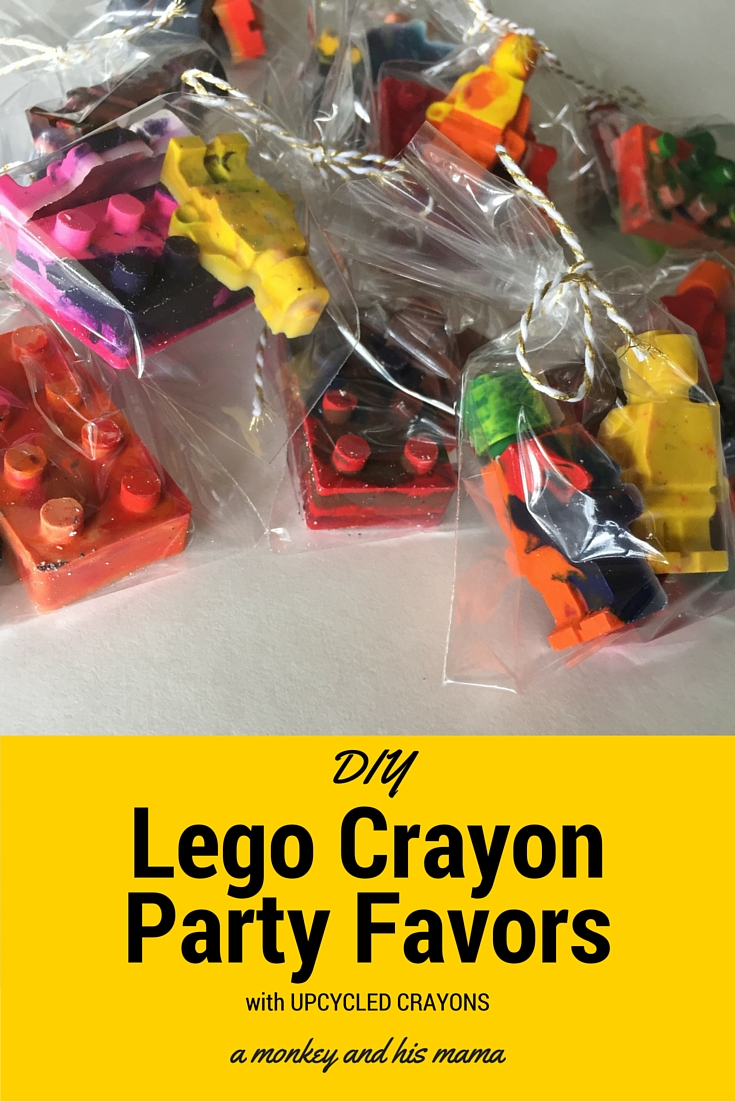 DIY Lego Crayon Party Favors using up cycled crayons // a monkey and his mama
