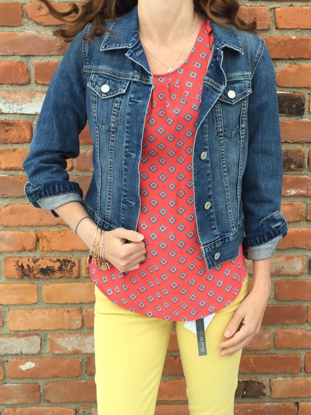 Yellow Straight Leg Jeans by Level 99 and Bastille Tulip Sleeve Blouse in Coral by Papermoon March Stitch Fix 2016 // a monkey and his mama