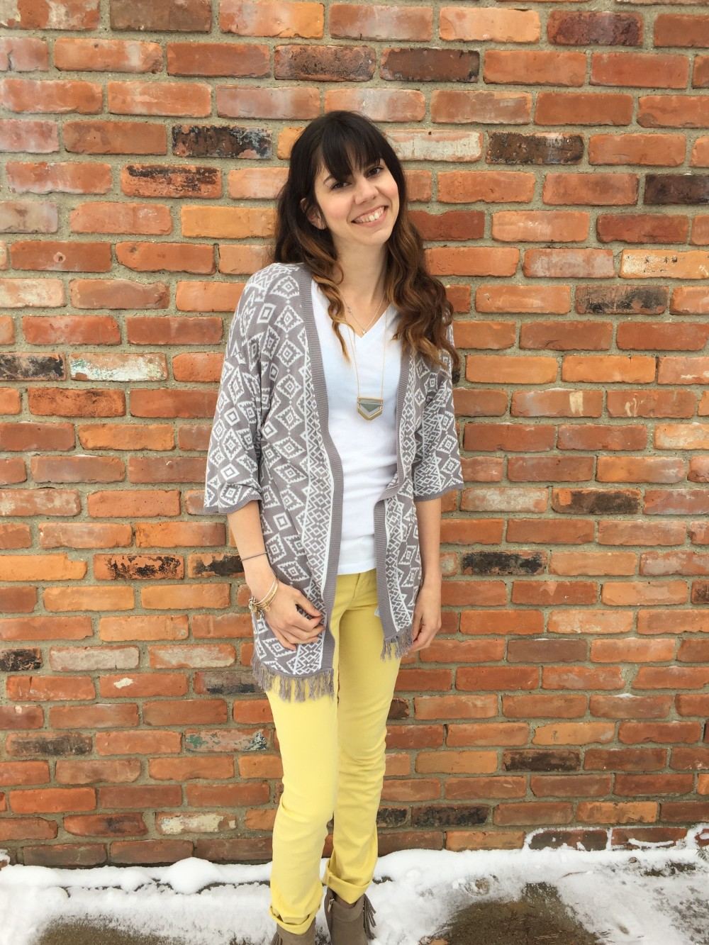 Yellow Straight Leg Jeans by Level 99 and skies are blue fringe cardigan March Stitch Fix 2016 // a monkey and his mama