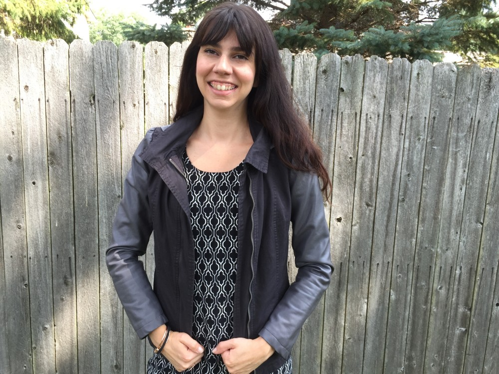 abbee hi-lo dress, 41Hawthorne from my July 2016 Stitch Fix with my monoreno jacket // a monkey and his mama