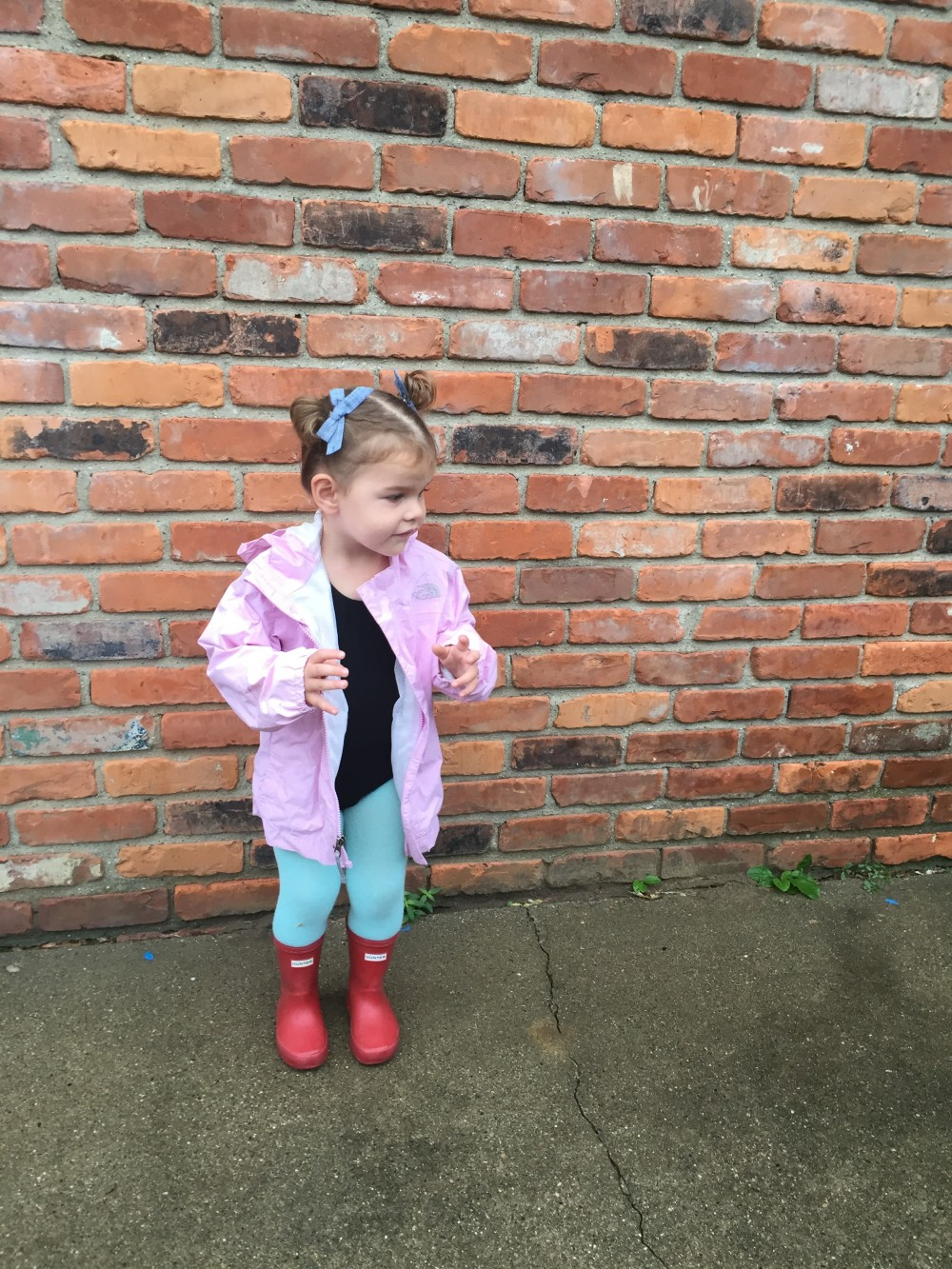 {jacket: thrifted, North Face. leotard: Zulily, tights: june & january, boots: Hunter, bows: dear freya.}