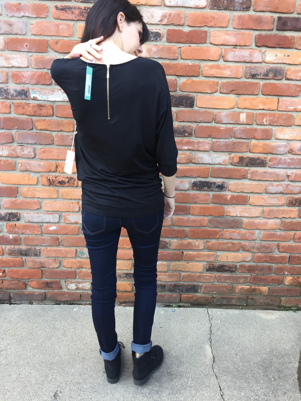 beatrice exposed zipper dolman by 41Hawthorn and Liverpool Mira skinny maternity jeans // from my October Stitch Fix // a monkey and his mama