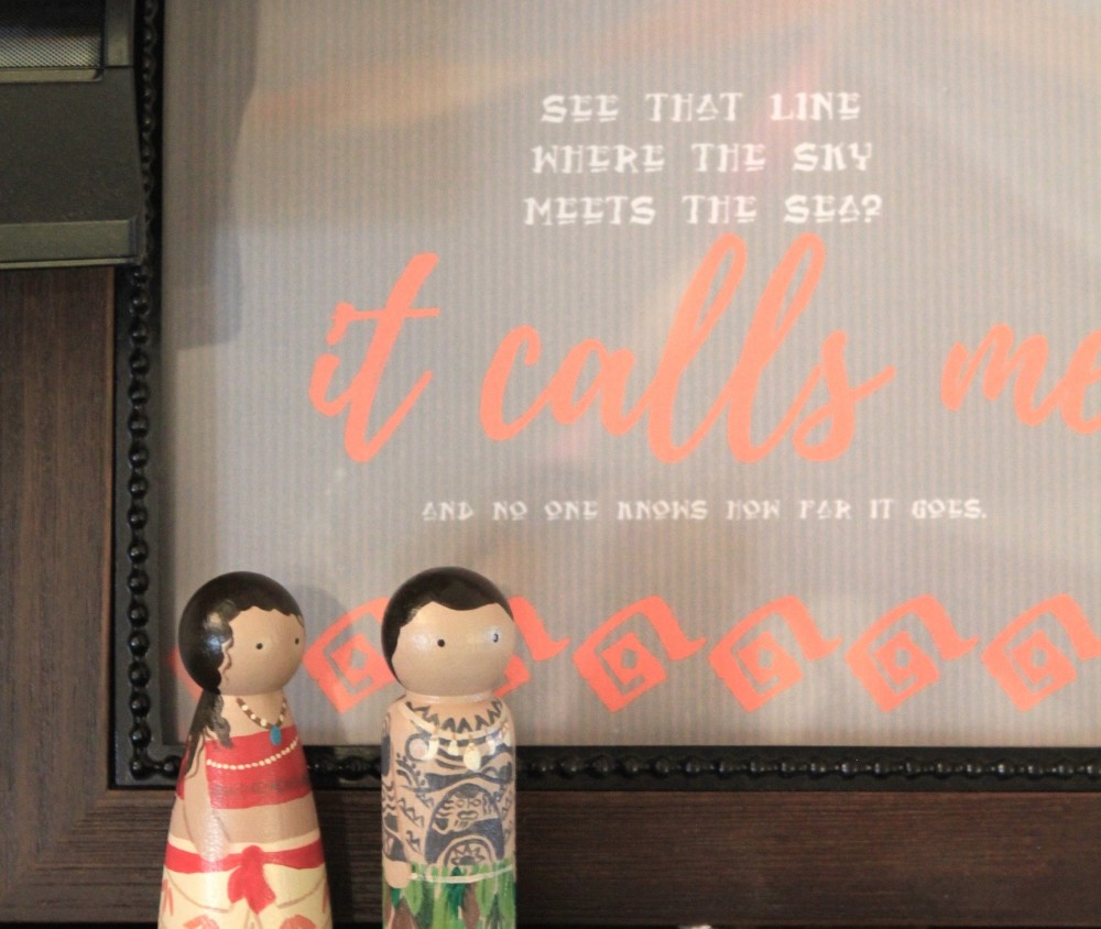 moana and maui peg dolls from pixie dust handmade // moana party // a monkey and his mama