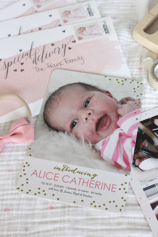 feminine and modern birth announcements