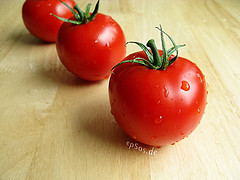Healthy Red Tomatoes with Water Drops