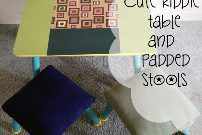 Cute children's table and padded stools. A DIY charity shop project by @snugglebubby