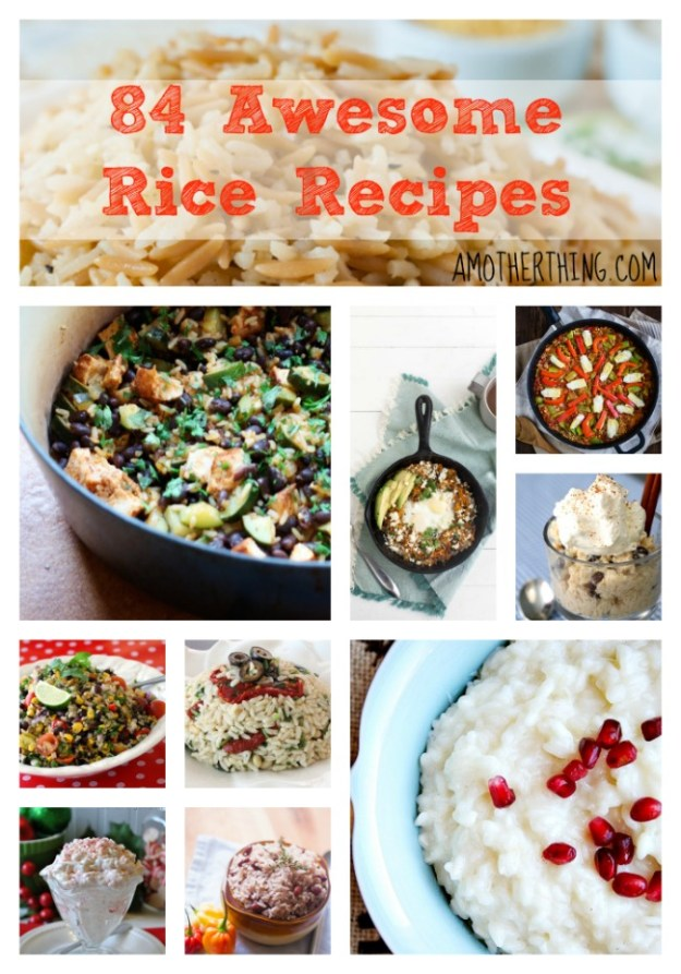84 Awesome Rice Recipes - Appetizers, Side Dishes, Main Entrees, Desserts and MORE. Turn basic rice into an amazing meal!