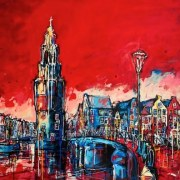 Amsterdam-Souvenir-Art-Painting-Canals-Postcards-Montelbaanstoren-small