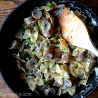 Farfalle with Garlic Parmesan Cream Sauce & Pan Seared Chicken Sausage