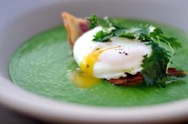 Nettle & Green Garlic Soup, Olive Oil Poached Egg, Bacon | Amy ...