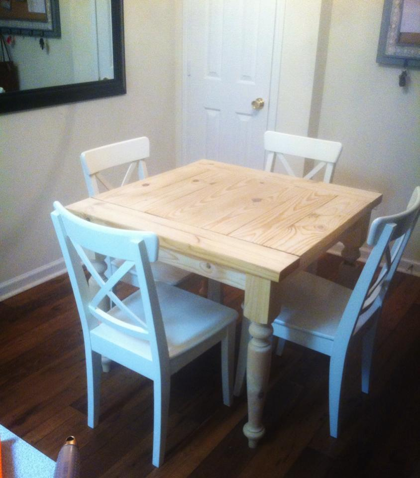 square turned leg farmhouse kitchen table square kitchen table Additional Photos