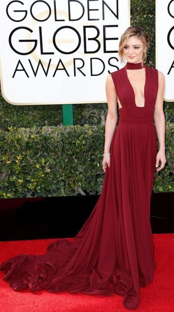 Christine Evangelista en la gala de los Golden Globes 2016