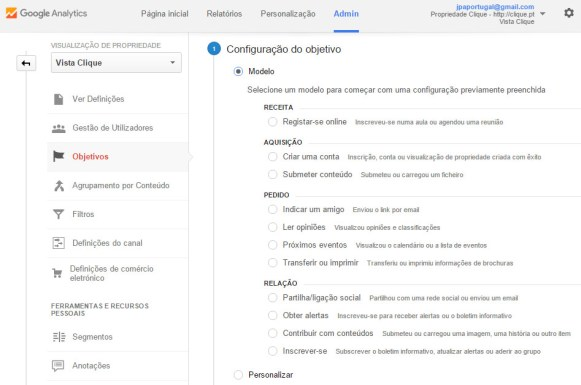 Tipos de objetivo no Google Analytics