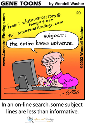 In an online search, some subject lines are less than informative (Genetoons Cartoon #20)